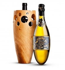 Wine Accessories & Decanters: Kripta Brut with Handmade Wooden Wine Vase